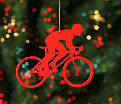 speedy road bike rider bicycle tree ornament