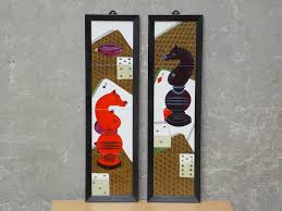 pair black u0026 red chess ceramic tile wall hangings game room
