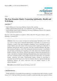 the four domains model connecting spirituality health and well being