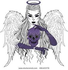 angel death black white tattoo sketch stock vector 691403770