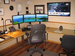 triple monitor setup home office pinterest monitor desks