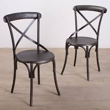 Black Metal Bistro Chairs Black Metal Bistro Style Dining Chairs With X Backs Of Trendy