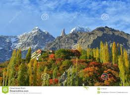 beautiful landscape of hunza valley in autumn season stock photo