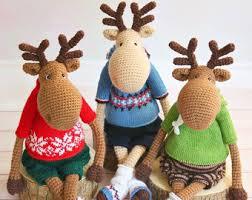 Christmas Moose Home Decor Moose Crochet Etsy