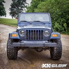 toyota jeep black xkglow 7in led headlight with black chrome front face for jeep