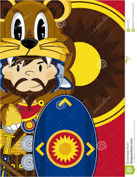 cartoon roman soldier with shield stock vector image 85151727