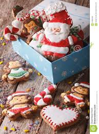 beautiful christmas gingerbread cookies in a gift box vertical