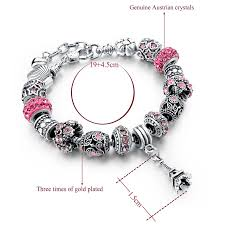 pandora charm silver bracelet images Pink beads 925 silver charm women bracelet ken bracelets shop jpg