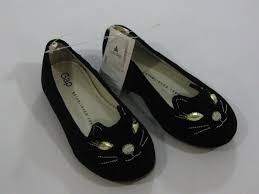 nwt baby gap girls size 7 toddler black kitty cat face shoes