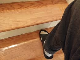 Laminate Floor Steps David Added Our Clear Grip Tape To Wood Stair Treads To Make Them