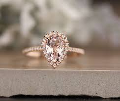 morganite pear engagement ring 14k gold morganite pear engagement ring halo