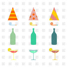 cocktail vector party set celebratory cap and party horn alcohol cocktail vector