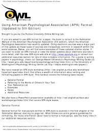 writing papers in apa format owl at purdue university printable handouts using american owl at purdue university printable handouts using american psychological association apa format docshare tips