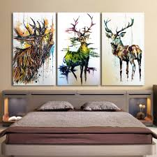 Livingroom Wall Art 3 Piece Elk Graffiti Abstract Deer Canvas Print For Living Room