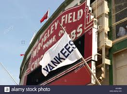 Cubs Flag Baseball Chicago Illinois Yankees Flag Fly In Front Of Wrigley