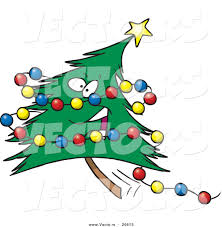 cartoon vector of a happy christmas tree character with colorful