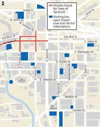 Map Of Downtown Las Vegas by Downtown Syracuse Parking Map Where To Park For Taste Of Syracuse