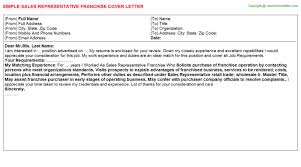 sales representative franchise cover letter