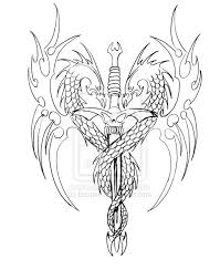 dragon sword tattoo design sketch by biomek tattoomagz