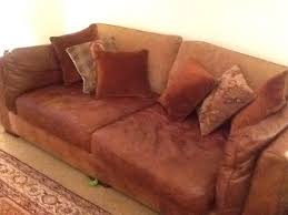 Chestnut Leather Sofa Chestnut Leather Sofa With Back Fabric Cushions And Six Small