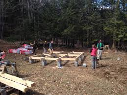 building the yurt platform 1 foundations beams blocking that