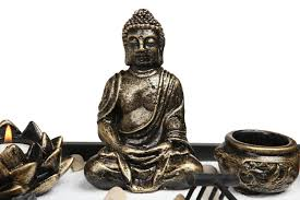 buddha statue zen garden with lotus candle holder and incense