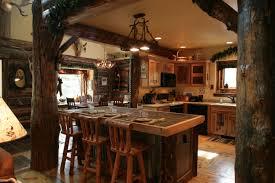 Log Home Interior Photos Interior Logde Decor Wood Floor Log Wall Rock Wall Range Hood