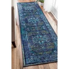 Overstock Com Rugs Runners Nuloom Traditional Vintage Inspired Overdyed Fancy Blue Runner Rug