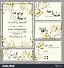 Rsvp On Invitation Card Wedding Invitation Thank You Card Save Stock Vector 141026212