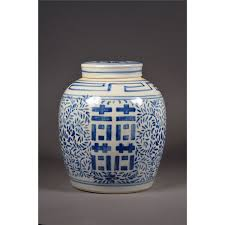 19th c blue u0026 white double happiness ginger jar