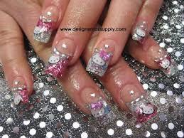 hello kitty glitter acrylics nail art gallery