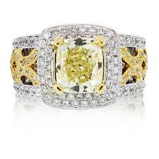 cushion cut diamond engagement rings 18k two tone fancy yellow cushion cut diamond engagement ring