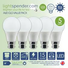 Led Light Bulbs Lumens by 5 U0026 10 Multipack Deal Led A60 Gls Bulb B22 Cool White 806 Lumens