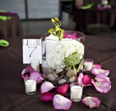 easy wedding centerpieces candles flowers river rocks