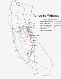 California Map Lake Tahoe To Mount Whitney On A Map