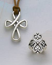 avery adorned hearts ring woven cross on leather necklace adorned hearts ring from