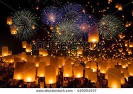 lanterns fireworks sky lanterns flying lanterns floating lanterns stock photo