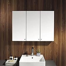 Wall Mounted Mirror Cabinet Foxhunter Triple 3 Door Wall Mount Mirror Bathroom Cabinet Unit