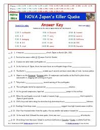 nova japan u0027s killer quake worksheet ans sheet and two quizzes