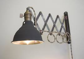 Wall Reading Lamp Scissor Extention Accordion Wall Lamp Antiqued Patina Steam