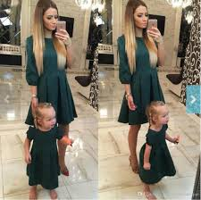 European Style European Style Mom And Me Deep Green Dress Mother Daughter Dresses