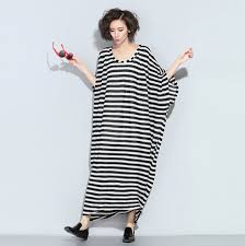 black and white striped dress for women loose batwing sleeve maxi