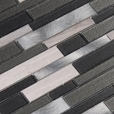 urban loft interlocking glass stone metal mesh mount mosaic