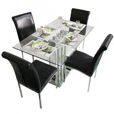 dining table set 4 seater crystal star black 4 seater glass top dining table set woodys