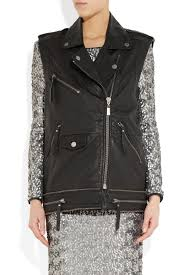 leather biker vest karl lagerfeld ohio leather biker vest in black lyst