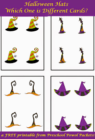 free halloween hats which one is different cards preschool