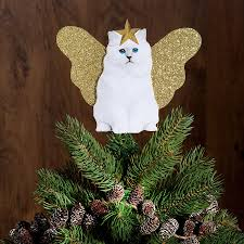 unique tree topper fabulous screen printed cat christmas tree topper with gold