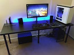 furniture cool gaming computer desk setup with black ikea desk