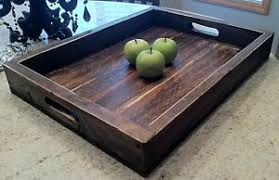 Ottoman Tray Large Solid Wood Wine Serving Ottoman Tray 22 X 16 Ebay
