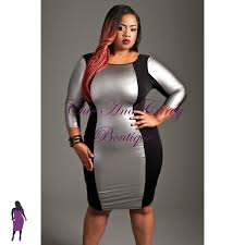 new plus size bodycon faux leather ponte dress in silver available